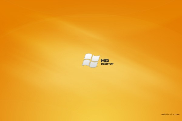 Windows HD Desktop en fondo naranja
