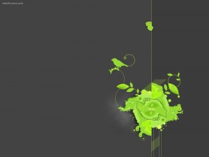 Composición verde sobre gris