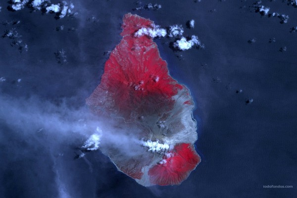 Vista satelital de una isla