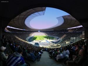 Vista panorámica de un estadio de fútbol