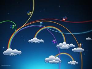 Postal: Hadas fabricando arcoíris