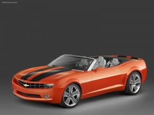 Postal: Chevrolet Camaro rojo descapotable