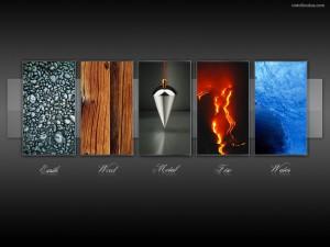 Postal: Los 5 elementos: tierra, madera, metal, fuego y agua