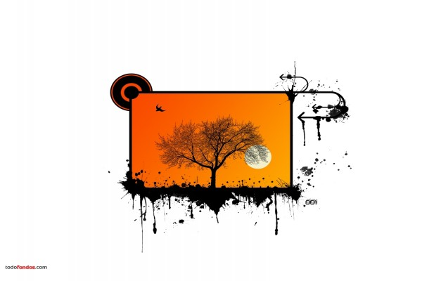 Dibujo a tinta de árbol