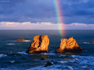 Postal: Arcoíris saliendo del mar