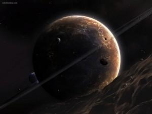 Planeta con anillos circulares