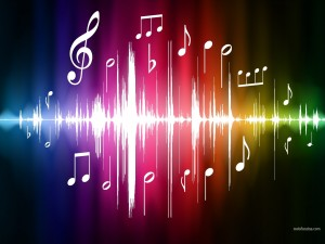 Postal: Notas musicales