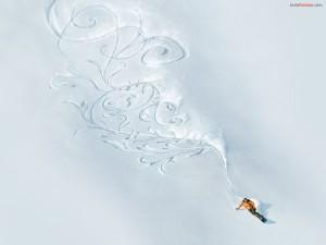 Postal: Surcos artísticos en la nieve