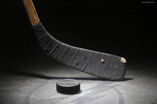 Palo de hockey y disco