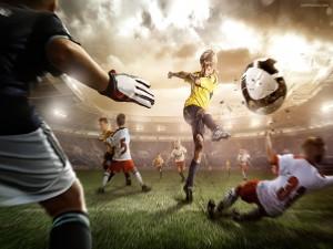 Niño chutando a gol