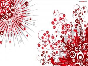 Postal: Motivos florales rojos