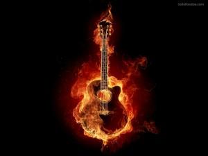 Postal: Guitarra de fuego