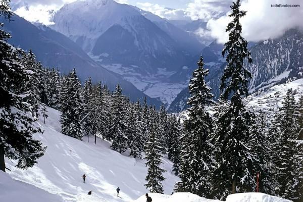 Esquiando en la montaña