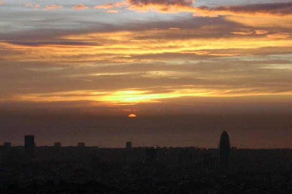 Amaneciendo en Barcelona