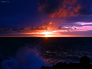 Postal: Salida del Sol en el horizonte