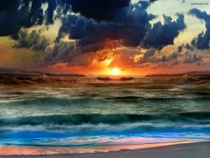 Playa con oleaje
