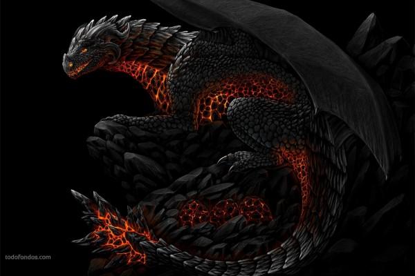 Dragón de roca y fuego