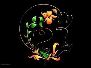 Motivo floral con una mariposa