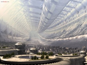 Postal: Ciudad futurista
