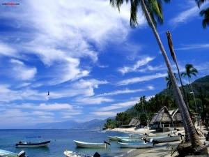 Postal: Barcas en la playa