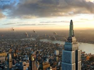 Avionetas sobrevolando el Empire State Building