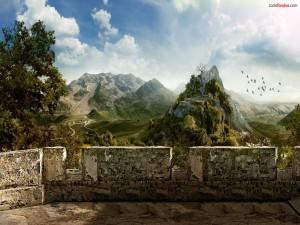 Postal: Mirador a las montañas