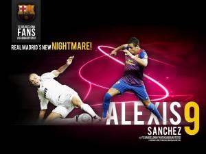Postal: Alexis Sánchez, número 9 del F.C. Barcelona