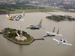 Exhibición aerea sobre la ciudad de Nueva York