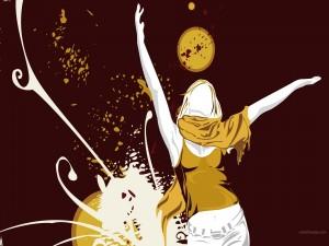 Postal: Chica con los brazos en alto