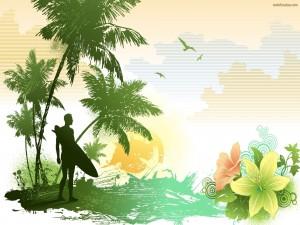 Postal: Surfista en el paraiso
