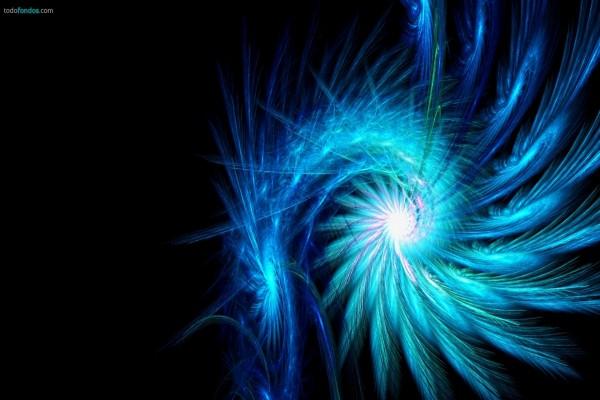 Espiral de plumas azules