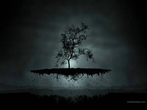 Postal: Árbol levitando