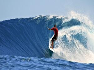 Postal: Surfeando la ola