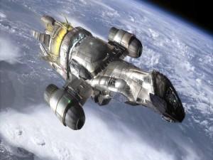 Postal: Nave espacial sobrevolando la Tierra