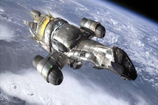 Nave espacial sobrevolando la Tierra