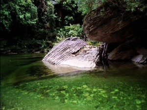 Río de aguas verdes