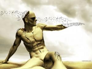 Estatua de alambre y arena