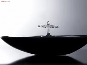 Postal: Efecto de una gota sobre una cuchara con agua