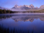 Lago con niebla