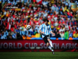 Postal: Messi en la Copa Mundial Sudáfrica 2010