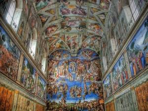 Postal: Bóveda de la Capilla Sixtina en Roma, realizada por Miguel Ángel