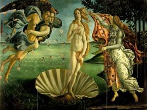 Postal: El nacimiento de Venus, pintura de Sandro Botticelli