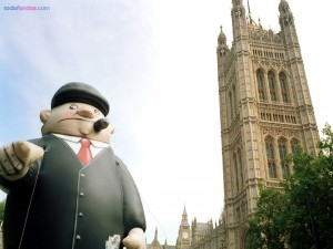 Postal: Muñeco de negocios, en Londres
