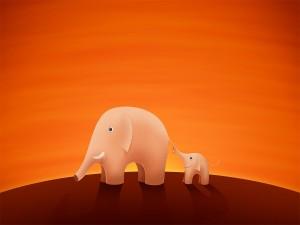 Postal: Elefante y su bebé