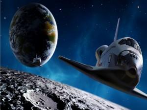 El transbordador espacial Endeavour cerca de la Luna