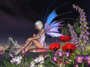 Postal: Hermosa mujer mariposa