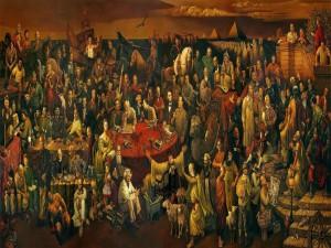 Postal: Pintura de gente famosa - Discutiendo la Divina Comedia con Dante