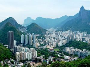 Vista de Botafogo y Corcovado en Río de Janeiro (Brasil)