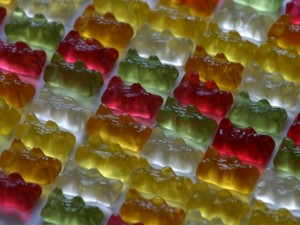Postal: Caramelos de goma con forma de osito