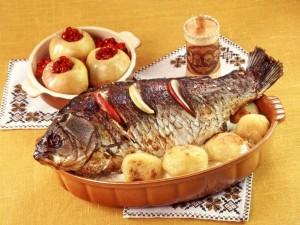 Postal: Pescado al horno con papas